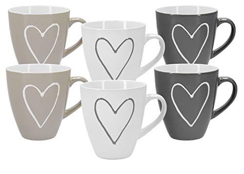 Tassen Becher mit Herzdekor Herzen XXL in weiß, beige und grau - 6 Stück im Set aus Keramik für ca. 400 ml