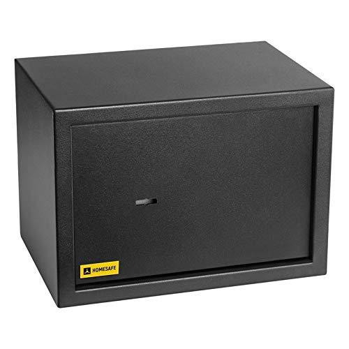 Homesafe HV25K Tresor Safe mit Schlüssel-Schloss, 25x35x25cm (HxWxD), Carbon Satin Schwarz