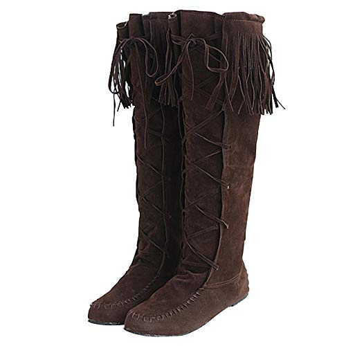 Women's Fringe Moccasin Boots Flat Heel Fall Knee High Pull On Winter 1 Layer Calf Boots for Women Lace Up Boots Brown