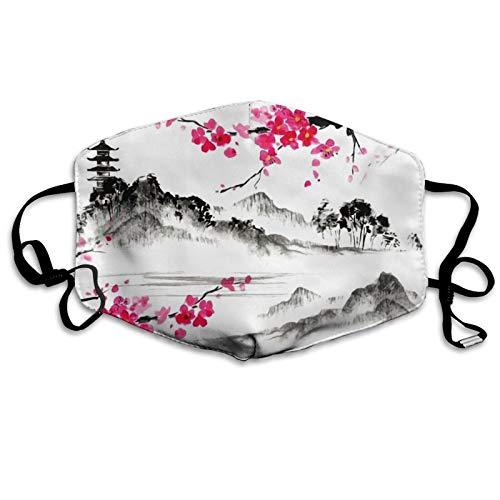 Mundschutzmaske, Motiv: Japanisches Ölgemälde, Kirschblüte, Sakura-Blume, warm, winddicht