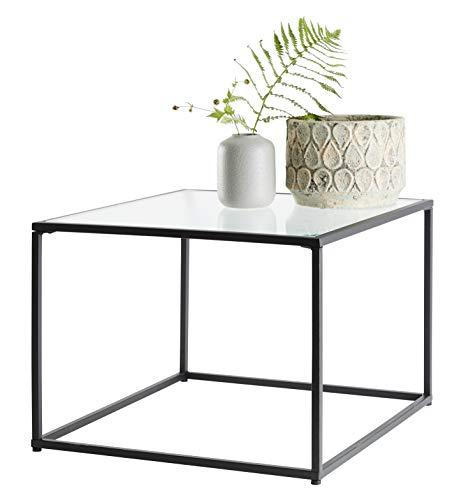 Day – useful everyday bijzettafel, woonkamertafel Scandinavisch design van MDF en glas, verschillende maten 49cm x 49cm x 35cm Black/Clear Stripe