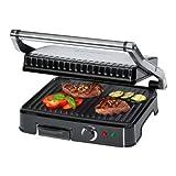 Bomann KG 2242 CB Kontaktgrill für beidseitiges, fettfreies Grillen, antihaftbeschichtete Grillplatten, Edelstahlgehäuse