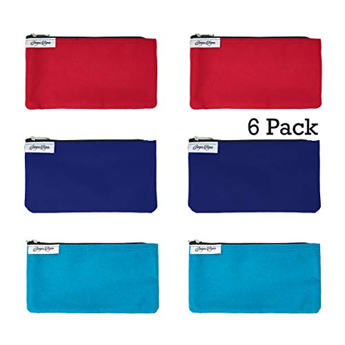 Reusable Snack Bags Red, Blue, Turquoise: 6 Pack Snack Bag Set Lunch Baggies for Kids and Adults, Dishwasher Safe, Eco Friendly Fabric Snackbags, Kid Friendly, Washable Storage Food Bags With Zipper…