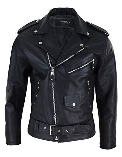 Infinity – Chaqueta para hombre, 100% piel auténtica, diseño de caballero, piel de vacuno, estilo moto, color negro