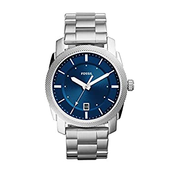 Fossil Men s Machine 3H Quartz Stainless Three-Hand Watch Color  Silver Blue Dial  Model  FS5340IE