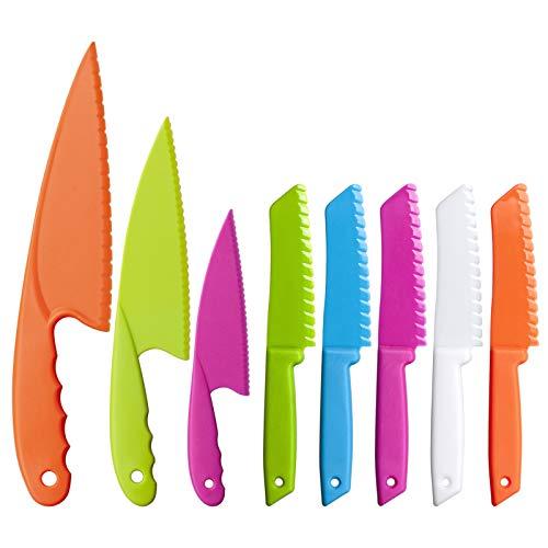Juego de 8 cuchillos de cocina seguros para niños para ensaladas o pasteles
