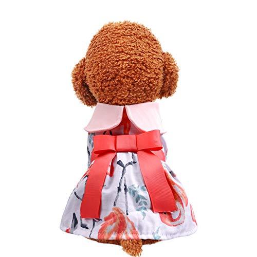 Vestido de Perro con Estampado de Flamencos Vestido de Princesa Rosa Vestido...