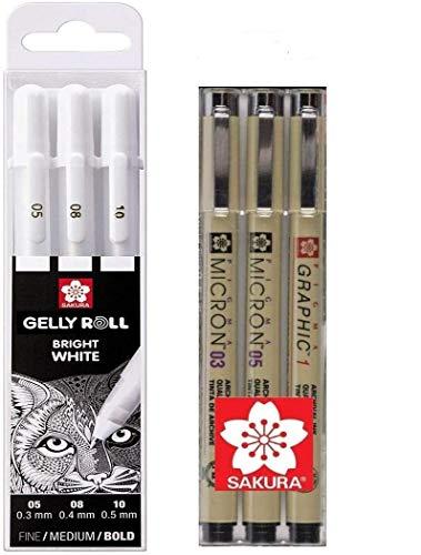 Sakura Gelly Roll Bright White - Estuche de 3 bolígrafos de tinta de gel, color blanco brillante, línea fina 05/08/10 + Sakura Pigma Micron 3 Fineliners, 03,05 mm, fabricado en Japón