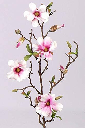 artplants.de Deko Magnolienzweig, 4 Blüten und Knospen, weiß - rosa, 80cm - Kunstzweig - Künstliche Magnolie