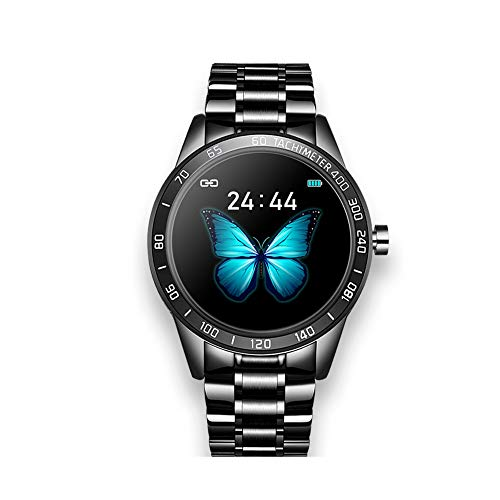 LHTCZZB Business Smart Watch Full Touch Screen Bluetooth Watch Fitness Management Heart Rate Monitoring Watch Sports Mode Long Life Suitable for Women and Men (Gold) (Color : Black)