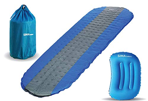 SIMA Outdoors Sleeping Pad - The #1 Self Inflating Sleeping Pad for Camping, Backpacking, Hiking, and Travel - Ultra lightweight, Insulated, and Inflatable Sleeping Pad with Pillow and Stuff Sack