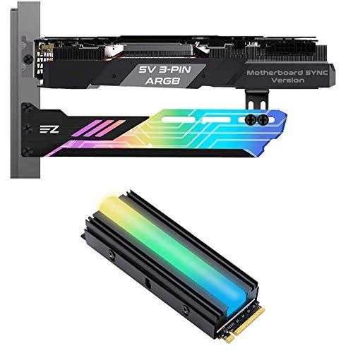 EZDIY-FAB ARGB GPU Holder and ARGB M.2 Cooler Heatsink Bundle Set