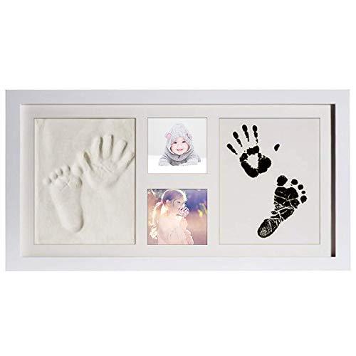 Kit de marco de fotos con huella de mano de bebé para bebé recién nacido, marco de madera original, papel de impresión y almohadilla de tinta Clean Touch (blanco-XL-41 * 22cm)