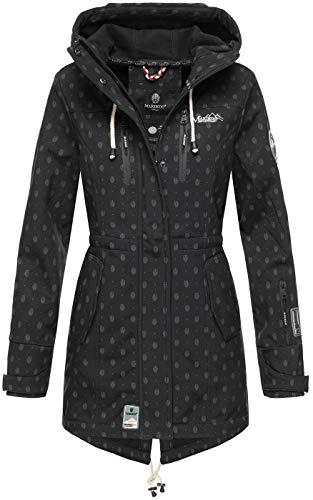 Marikoo Damen Winter Jacke Winterjacke Mantel Outdoor wasserabweisend Softshell B614 [B614-Zimt-Schwarz-Mus-Gr.S]
