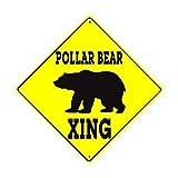 S-RONG雑貨屋 シロクマ興渡る野生生物動物注意安全ハンター渡る面白いイエローダイヤモンドティンサイン家の装飾装飾品ブリキ看板個性20x20cm