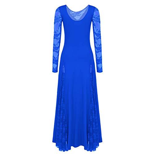 inhzoy Vestido de Danza Flamenco Encaje para Mujer Manga Larga Vestido Largo de Danza Tango Vals Sevillanas Baile de Saln Disfraz Bailarina Fiesta Azul Large