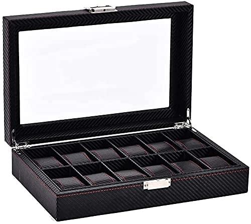 Caja de relojes Caja de reloj Caja de almacenamiento de 12 relojes Tapa de vidrio Reloj Organizador de exhibición de reloj Fibra de carbono Organizador de reloj de cuero Regalo Fibra de carbono neg