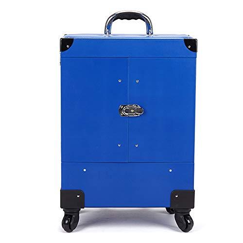 GXHGRASS Multi-Layer Manicure Trolley, gereedschapskist met grote capaciteit, PC-materiaal, 360° Mute universeel wiel, 39 * 26 * 56.5Cm, Zwart, Blauw, Rood