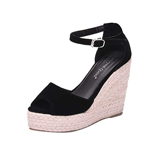 Fantastic Prices! KCPer Womens Platform Wedges Sandals Classic Open Toe Ankle Strap Shoes Espadrille...
