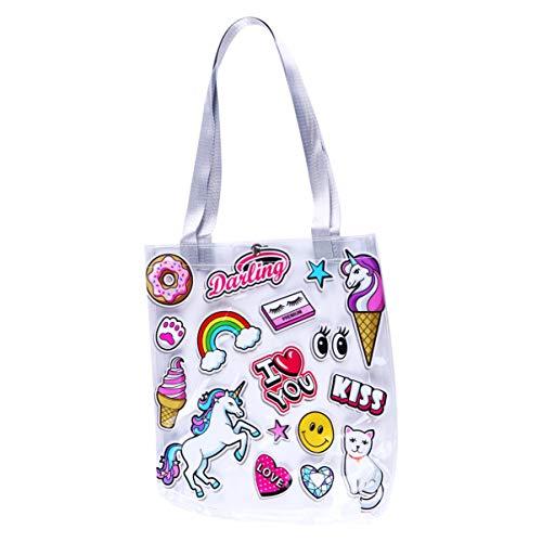VALICLUD Einkaufstasche Transparente Strandtasche Klare Einkaufstasche Niedlicher Druck Durchsichtige Umhängetaschen für Frauen