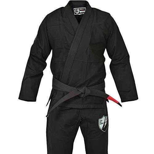 OKAMI Fightgear BJJ Gi SAS Black OPS Schwarz - Limited Edition - Herren Männer BJJ Gi Kimono Jiu Jitsu Anzug für Erwachsene inkl. Jiu Jitsu T-Shirt und Mesh-Rucksackbeutel (A4)