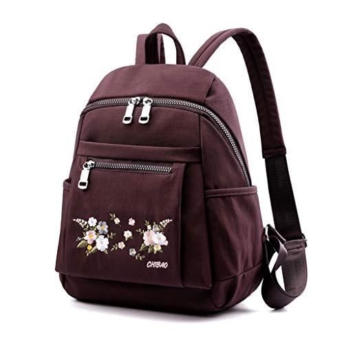 Mochila de nylon bordada de PING para adolescentes de viaje antirrobo mochila universitaria, Pl, L chiquita