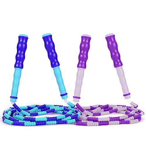 Supertrip Springseil für Kinder, weich, mit Perlen, verstellbar, verwicklungsfrei, segmentiertes Springseil für Kinder und Studenten, 2 Stück