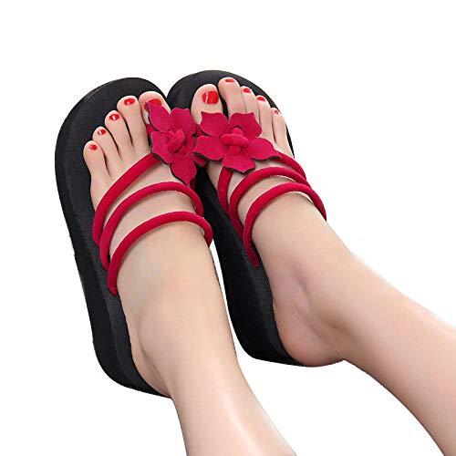 Vrouwen zomerhuisschoenen, pantoffels met dikke zolen, zomerse flip-flops, vrouwelijke schattige wedges met hoge hakkige sandalen, dikke voeten, koude bloemen