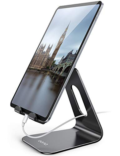 "Eono by Amazon - Supporto Tablet Regolabile, Universale Stand Porta Cellulare da Tavolo Dock per iPad PRO 9.7/10.5/11/12.9, Air Mini 2 3 4, Galaxy Tab, iPhone 12 11, Altri 5""-13"" Tablets - Nero"