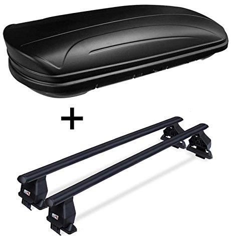 Dachbox VDPMAA320 abschließbar schwarz matt 320 Ltr + Dachträger Menabo Tema kompatibel mit Opel Insignia 09-17 Stahl