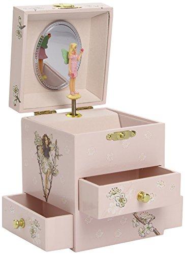 TROUSSELIER - Fée - Flower Fairies - Boîte à Bijoux Musicale - Idéal Cadeau Jeune Fille - Phosphorescent - Brille dans la nuit - Musique Rapsodie de Rachmaninov - Colori Ivoire