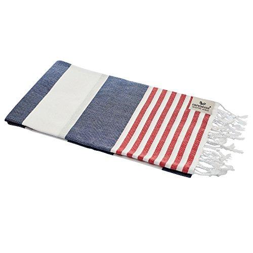 Carenesse Toalla de baño Tommy de 100 x 180 cm, toalla de mano Hammam, 100% algodón, diseño marino a rayas, color azul, blanco y rojo