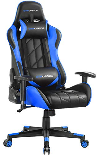 GTPOFFICE Gaming Chair Racing Office Chair High Back PU Leather Ergonomic Computer Chair Adjustable Swivel Computer Task Chair Tilt E-Sports Chair with Soft Headrest and Lumbar Cushion (Blue) blue chair gaming