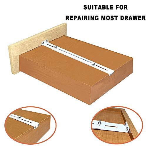 FRMSAET Schubladenreparatursatz - Zum Verstärken und Reparieren von Holz- / MDF- / Spanplattenschubladen Schrankverstärkung Hochleistungsstahlbeschläge Möbelzubehörhalterungen.(4 Packung)