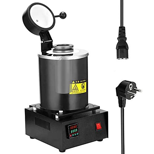 Voupuoda Horno de fusión 2 kg horno de crisol de grafito portátil horno de fusión de metal pequeño de alta temperatura 1750 W