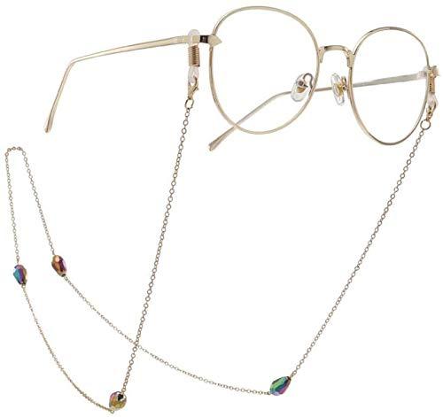 PJPPJH Gafas Cadena Gafas Collar Cadena Antideslizante Gotas de Agua Multicolores Cristal...