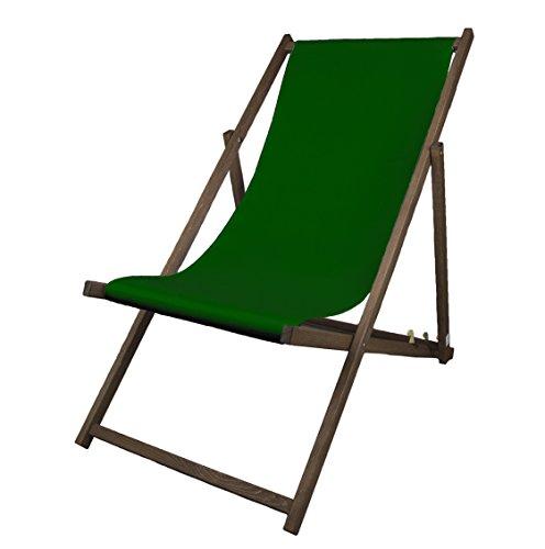MultiBrands Liegestuhl, Holz, Tannengrün ohne Armlehne mit dunkelbrauner Lasur, klappbar