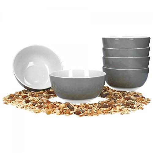 Van Well 6er Set Müsli- Salatschale Serie Vario Porzellan - Farbe wählbar, Farbe:grau