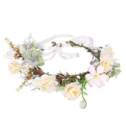 SUI-lim Couronne Fleur Cheveux Demoiselle D'honneur Mariée Tête Couronne Couronne Mariage Floral Bandeau Cheveux Accessoires avec Ruban Réglable