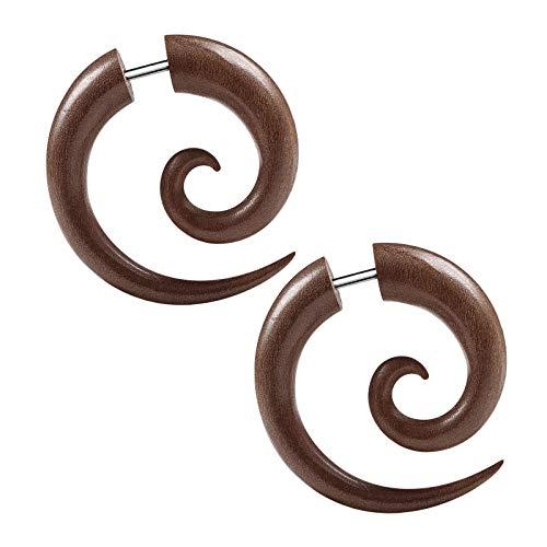 KJM FASHION 2 STK Holz 1,2mm 16 Gauge 6mm Fake Plug Sawo Spiral Taper Ohr Stecker Expander Earring Dehnstab Piercing Schmuck 5561
