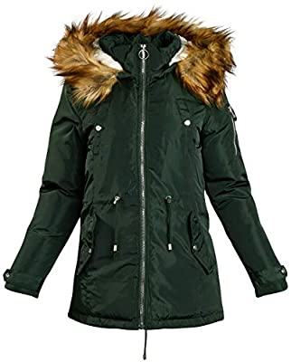 Madden Girl Women's Heavyweight Puffer Anorak Jacket with Sherpa Fur Lined Hood, Size Large, Green Olive' by