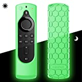 CaseBot Remote Case for Fire TV Stick 4K / Fire TV Cube/Fire TV (3rd Gen) Compatible with All-New 2nd Gen Alexa Voice Remote Control - Honey Comb Series [Anti Slip] Silicone Cover, Green-Glow