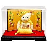 【プティルウ】米寿に贈る、黄ちゃんちゃんこを着たお祝いテディベア(金屏風 ケース)