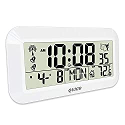 QUIGO Digital Wall Clock Alarm Atomic Extra Large Big Display Battery Operated Day,Date,Temperature,Snooze Full Screen Huge Number Office,Home 18(White)