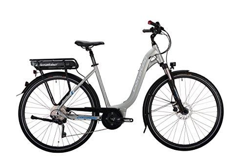 Corratec Damen E-Power 28 Urban Active 10s Wave Fahrrad, Silber/Matt/Weiß/Process Blau, 54