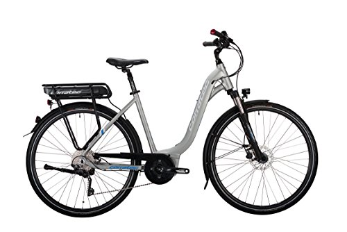 Corratec Damen E-Power 28 Urban Active 10s Wave Fahrrad, Silber/Matt/Weiß/Process Blau, 54