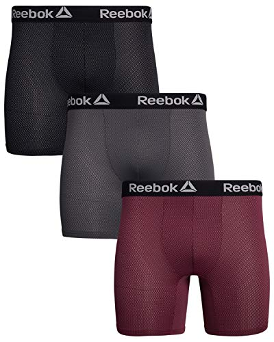 Reebok Men's Athletic Performance Wicking Nylon Mesh Boxer Briefs (3 Pack), Size Medium, Black/Red/Charcoal'