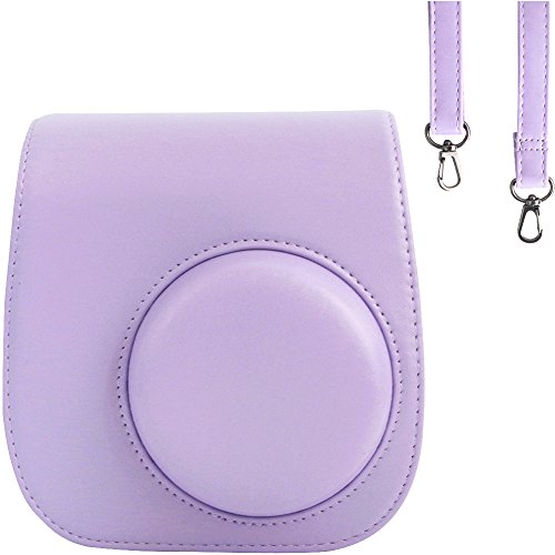 Case Compatible with Fujifilm Instax Mini 11/9 / 8/8+ Instant Film Camera Purple. Vintage Compact Protective Bag. with Adjustable Shoulder Strap&Pocket. by SAIKA (Purple)