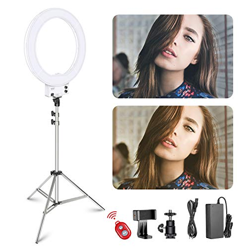 Neewer 18 Zoll dimmbares weißes LED Ringlicht mit silbernem Lampenständer Licht Set mit weicher Filter Zubehörschuh Adapter Handyhalter für Make-up Video