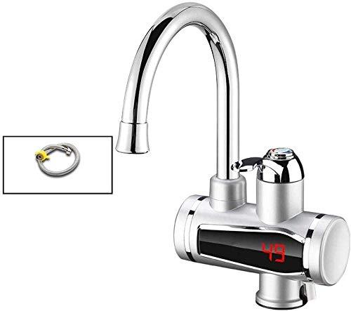 LXYZ Grifo Calentador de Agua eléctrico instantáneo sin Tanque Grifo de Calentamiento instantáneo de Cocina con indicador de Temperatura de Pantalla Digital, Silver-B